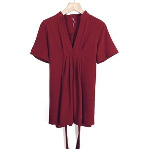 Free People XS Red Stretch Jersey Pleat Front Tie Back Tunic Mini Dress